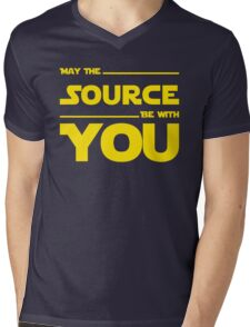 May The Source Be With You - Yellow/Dark Parody Design for Programmers Mens V-Neck T-Shirt