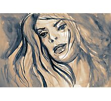 Watercolor of fantasy girl with soft hair in the wind Photographic Print
