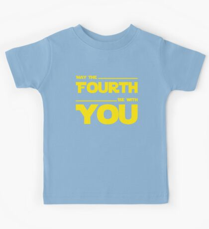 May The Fourth Be With You - Yellow/Dark Parody Design for Geeks Kids Tee
