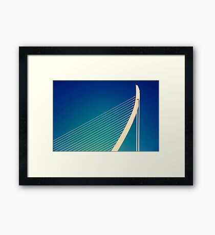 White Abstract Bridge Structure On Blue Sky Framed Print