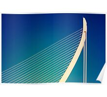 White Abstract Bridge Structure On Blue Sky Poster