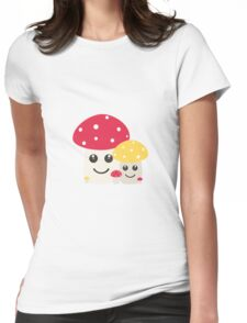 Cute colorful mushrooms Womens Fitted T-Shirt