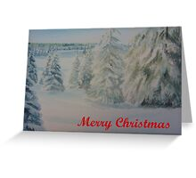 Winter In Gyllbergen Merry Christmas red text Greeting Card