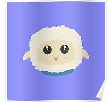 Cute little sheep with blue collar Poster
