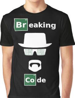 Breaking Code - White/Green on Black Bad Parody Design for Hackers Graphic T-Shirt