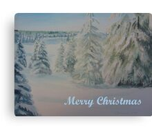 Winter In Gyllbergen Merry Christmas blue text Canvas Print