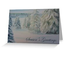 Winter In Gyllbergen Season's Greetings blue text Greeting Card