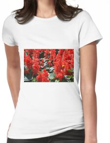 Red flowers pattern Womens Fitted T-Shirt