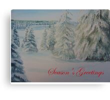 Winter In Gyllbergen Season's Greetings red text Canvas Print