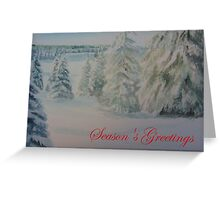 Winter In Gyllbergen Season's Greetings red text Greeting Card