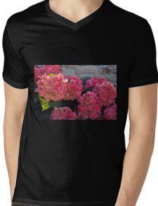 Pink flowers natural background Mens V-Neck T-Shirt