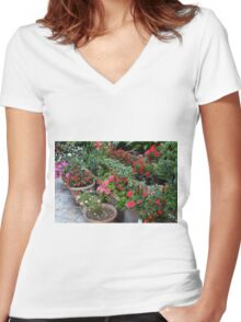 Colorful flowers in flower pots in the garden Women's Fitted V-Neck T-Shirt