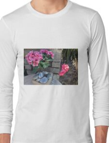 Colorful flowers in flower pots in the garden Long Sleeve T-Shirt