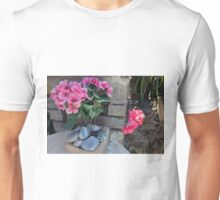 Colorful flowers in flower pots in the garden Unisex T-Shirt