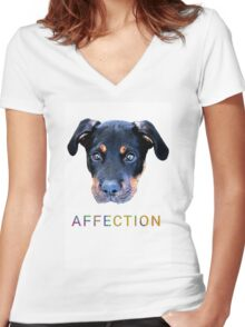 Puppy Eyes Women's Fitted V-Neck T-Shirt