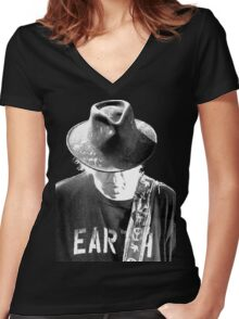 ADS6 Neil Young Earth REBEL CONTENT Tour 2016 Women's Fitted V-Neck T-Shirt