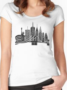 Linocut New York Women's Fitted Scoop T-Shirt