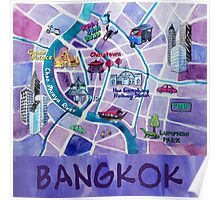 Bangkok Illustrated Map Poster