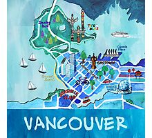 Vancouver Illustrated Map Photographic Print