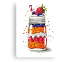 Strawberry and Blueberry shortcake in a jar Canvas Print