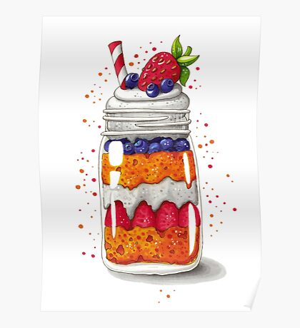 Strawberry and Blueberry shortcake in a jar Poster