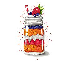 Strawberry and Blueberry shortcake in a jar Photographic Print
