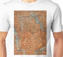 Vintage Map of Annecy France (1914) Unisex T-Shirt