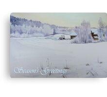 Winter Blanket Season's Greetings blue text Canvas Print