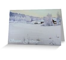 Winter Blanket Season's Greetings blue text Greeting Card