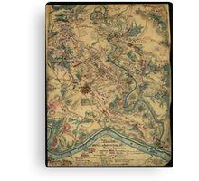 Vintage Antietam Battlefield Map (1862) Canvas Print