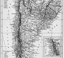 Vintage Map of Argentina (1911)  by BravuraMedia