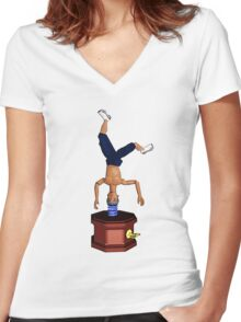 Breakdancing Music Box! Women's Fitted V-Neck T-Shirt