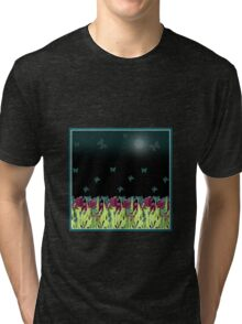 Red tulips in the night. Tri-blend T-Shirt