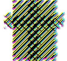 Cross Christian Lattice Hatch CMYK with Drop shadow Large by SeekPeace