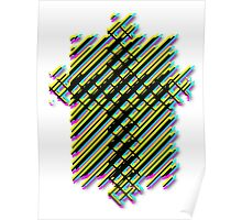 Cross Christian Lattice Hatch CMYK with Drop shadow Large Poster
