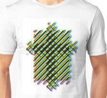 Cross Christian Lattice Hatch CMYK with Drop shadow Large Unisex T-Shirt
