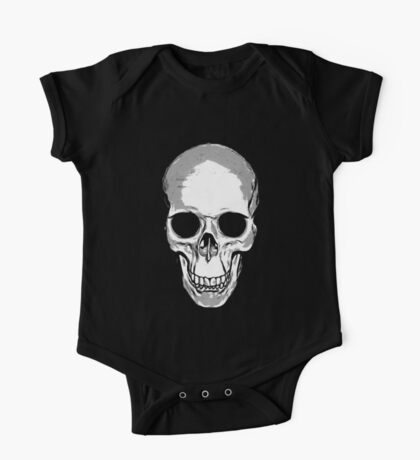 Monotone Skull One Piece - Short Sleeve