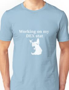 Working on my DEX stat, white - D&D stats Unisex T-Shirt