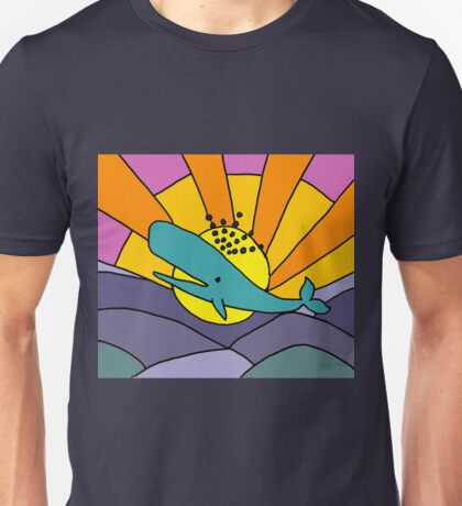 Cool Funky Whale and Sun Abstract Art Unisex T-Shirt