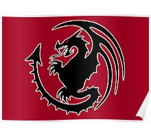Round Black Dragon Design On Red Background Poster
