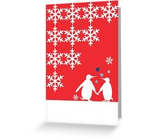 Penguin Couple Dancing in Snow Greeting Card