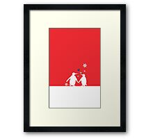 Penguin Couple Red Heart Love Snow Framed Print