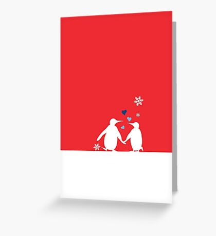 Penguin Couple Red Heart Love Snow Greeting Card