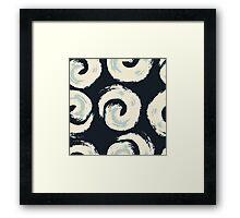Pattern background with swirls on black background Framed Print