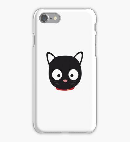 Cute black cat with red collar iPhone Case/Skin