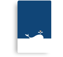 Whale in Blue Ocean with a Love Heart Canvas Print