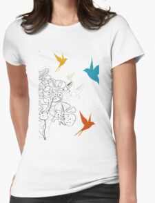 Birds a flower Womens Fitted T-Shirt