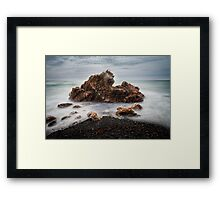 Rocks on a windy day, Boat Harbour, Tasmania Framed Print