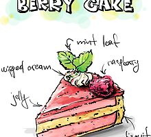 Berry Cake Illustration with Ingredients by texasaggie