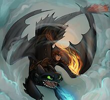 Hiccup and Toothless by sharpie91